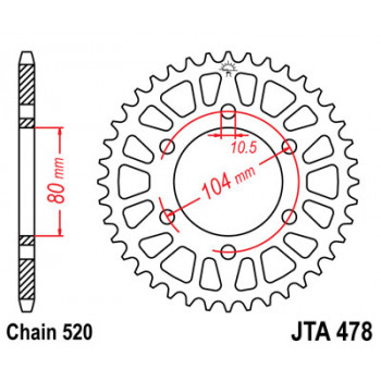 Звезда задняя легкосплавная JT Sprockets JTA478.43