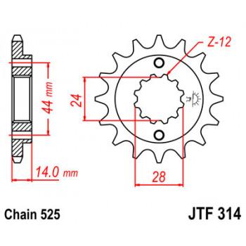 Звезда передняя JT Sprockets JTF314.16