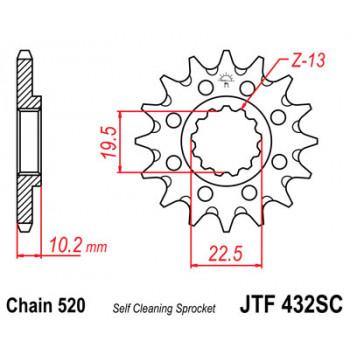 Звезда передняя JT Sprockets JTF432.13SC