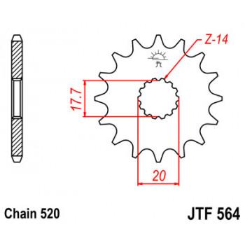 Звезда передняя JT Sprockets JTF564.14