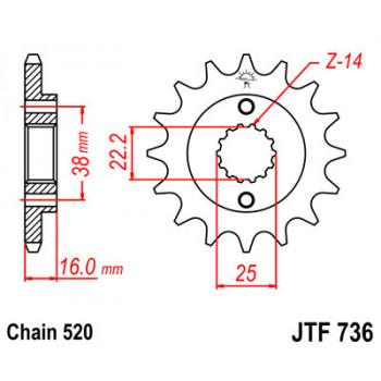 Звезда передняя JT Sprockets JTF736.14