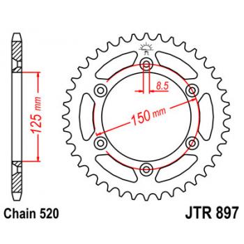 Звезда задняя JT Sprockets JTR897.38