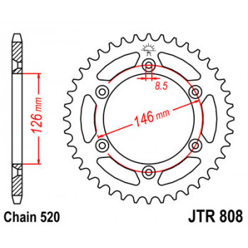 Звезда задняя JT Sprockets JTR808.46