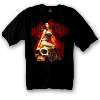 Футболка Hot Leathers Ride Nasty Skull Pin-Up Black 2XL