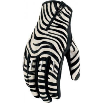 Мотоперчатки женские Icon Catwalk Zebra Black-White M