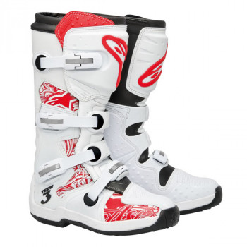 Мотоботы Alpinestars Tech 3 White-Red 9.0