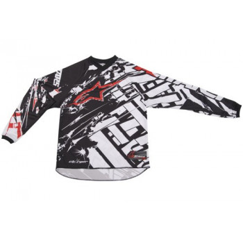 Кроссовая футболка (джерси) детская Alpinestars Youth Charger Blokz White-Black-Red M