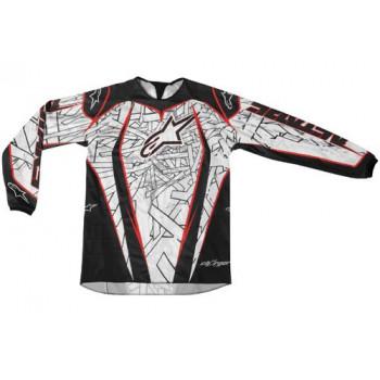 Кроссовая футболка (джерси) детская Alpinestars Youth Charger White-Red-Black M