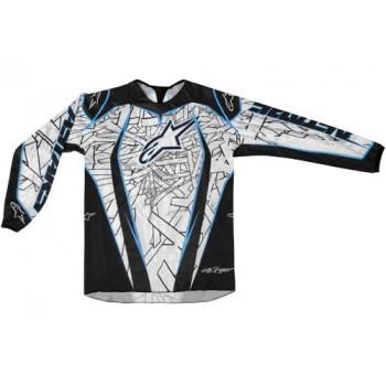 Кроссовая футболка (джерси) детская Alpinestars Youth Charger White-Blue-Black XL