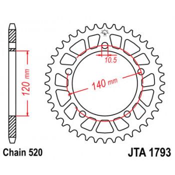 Звезда задняя легкосплавная JT Sprockets JTA1793.44
