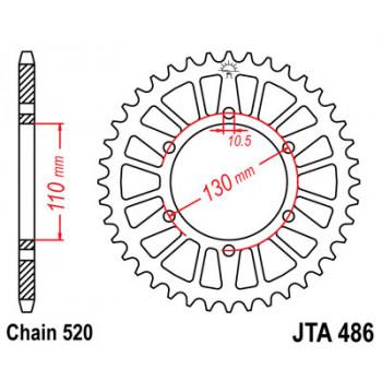 Звезда задняя легкосплавная JT Sprockets JTA486.44