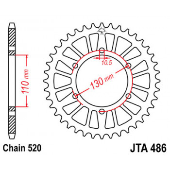 Звезда задняя легкосплавная JT Sprockets JTA486.49
