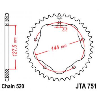 Звезда задняя легкосплавная JT Sprockets JTA751.42