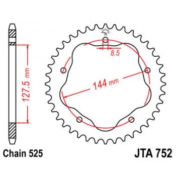 Звезда задняя легкосплавная JT Sprockets JTA752.39