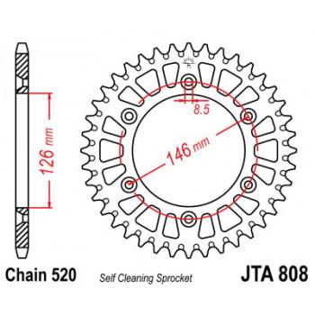 Звезда задняя легкосплавная JT Sprockets JTA808.46