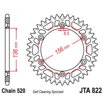 Звезда задняя легкосплавная JT Sprockets JTA822.45