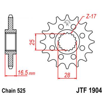 Звезда передняя JT Sprockets JTF1904.16