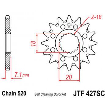 Звезда передняя JT Sprockets JTF427.13SC