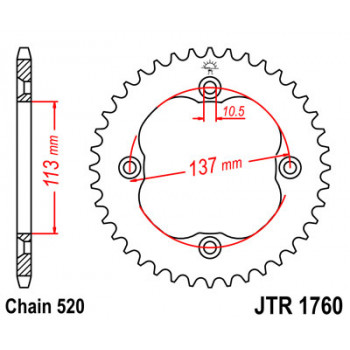 Звезда задняя JT Sprockets JTR1760.40