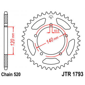Звезда задняя JT Sprockets JTR1793.42