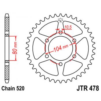 Звезда задняя JT Sprockets JTR478.46