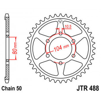 Звезда задняя JT Sprockets JTR488.42
