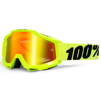 Мотоочки 100% Accuri Moto Goggle Fluo Yellow - Red Mirror Lens