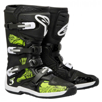 Мотоботы Alpinestars TECH 3 Black-Green Swirl 9