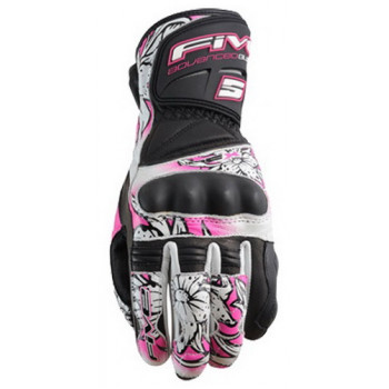 Мотоперчатки женские Five RFX Flower New Black-White-Pink L