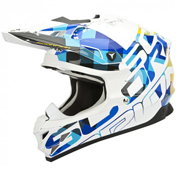 Мотошлем Scorpion VX-15 Evo Air Grid Pearl White-Blue L
