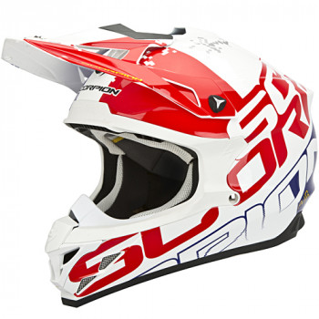 Мотошлем Scorpion VX-15 Evo Air Grid Pearl White-Red-Blue M