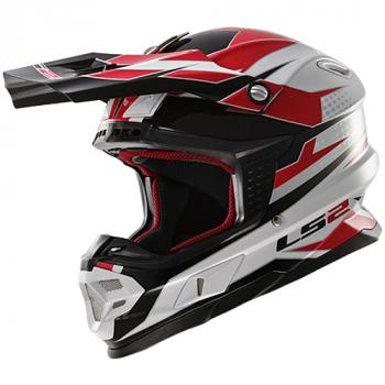 Мотошлем LS2 MX456 Factory White-Black-Red S