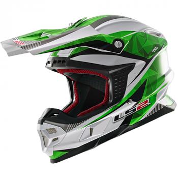Мотошлем LS2 MX456 Light Quartz White-Green XL