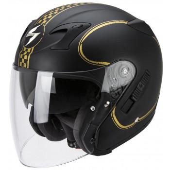 Мотошлем Scorpion Exo-220 Bixby Matt Black-Gold 2XL
