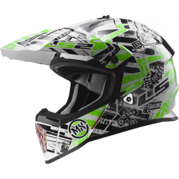 Мотошлем LS2 MX437 Fast Glitch White-Black-Green XS