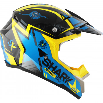 Мотошлем SHARK SX2 Wacken Black-Blue-Yellow M