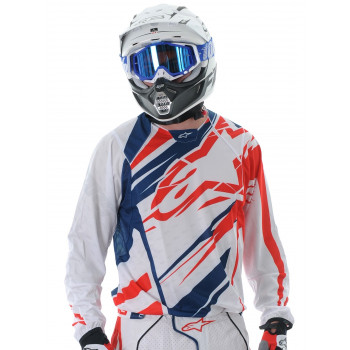 Кроссовая футболка (джерси) Alpinestars Techstar White-Red-Blue XXL