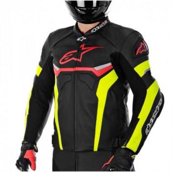 Мотокуртка Alpinestars CELER кожа Black-Red-Yellow fluo 48