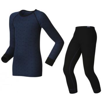 Термокомплект детский Odlo Set Shirt L/S Pants Long Warm Kids Black-Blue 104 (2014)