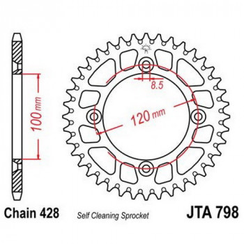 Звезда задняя легкосплавная JT Sprockets JTA798.47