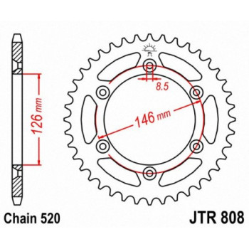 Звезда задняя JT Sprockets JTR808.51