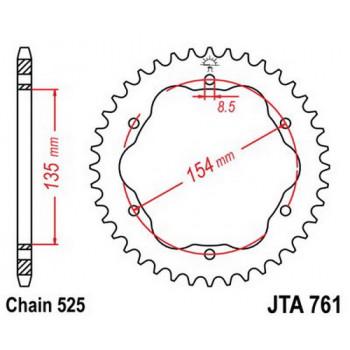 Звезда задняя легкосплавная JT Sprockets JTA761.38