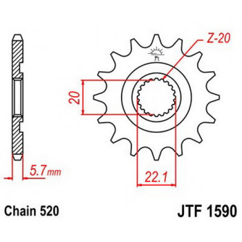 Звезда передняя JT Sprockets JTF1590.14SC