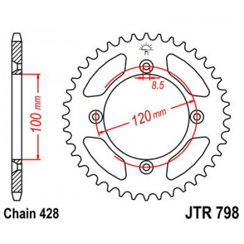 Звезда задняя JT Sprockets JTR798.52