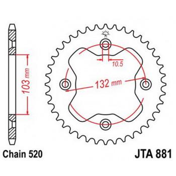 Звезда задняя легкосплавная JT Sprockets JTA881.38
