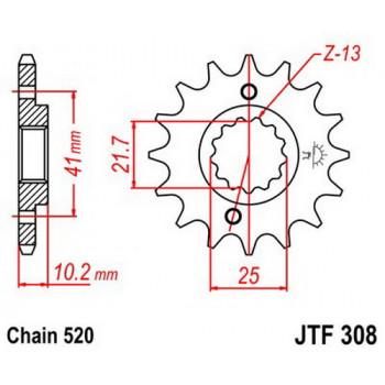 Звезда передняя JT Sprockets JTF308.14