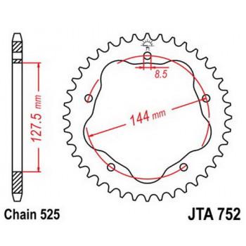 Звезда задняя легкосплавная JT Sprockets JTA752.42