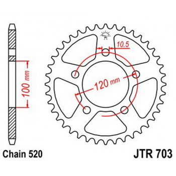 Звезда задняя JT Sprockets JTR703.47