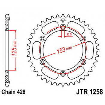Звезда задняя JT Sprockets JTR1258.54