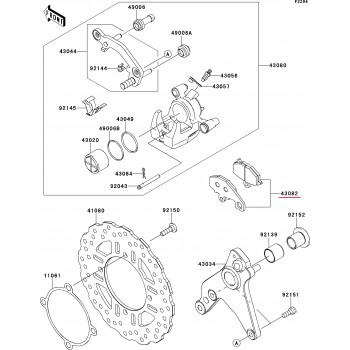 Тормозные колодки Kawasaki Z1000 10-13/ ZX-6R 12 задние